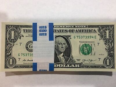 100 New Uncirculated $1 Dollar Bills (Total $100) BEP Back 2013 Sequential order