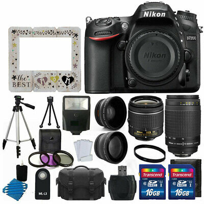 Nikon D7200 Digital SLR Camera + 4 Lens 18-55mm VR 70-300 +32GB Top Value Bundle