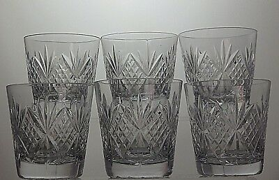 Lovely Cut Glass Crystal Whisky Tumblers Set Of 6