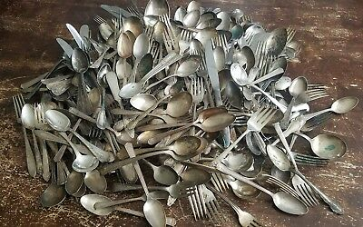 Vintage Silverplate Flatware Craft Lot 325Pc Silverware Spoons Forks Knives Old