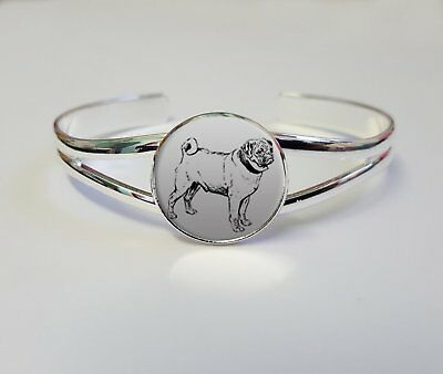 Pug Dog Silver Plated Jewellery Bracelet Bangle Birthday Gift L319