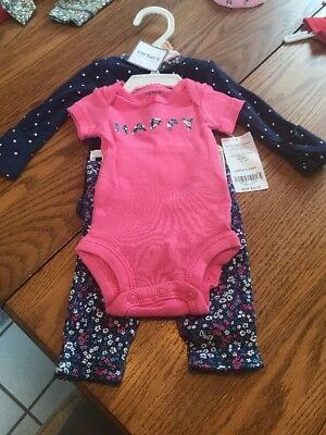 Carter's Preemie Premature 3 Piece Elephant Set Bodysuits and Pant Ships N 24h