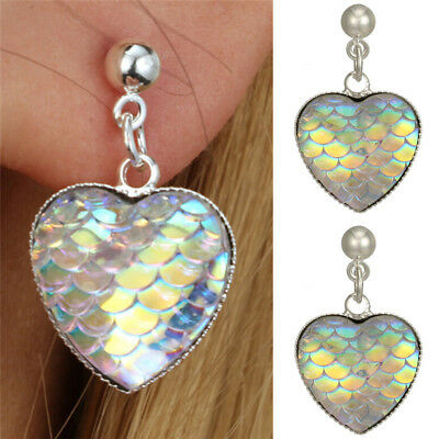 Handmade Mermaid Fish Scale Heart Earrings Trendy Woman Ear Stud Jewelry Gift HF