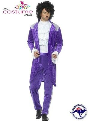 Mens Adult 80s Purple Musician Singer Prince Pop Star Fancy Dress Costume New