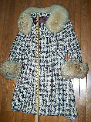 Union Made Vintage 1970's hounds tooth winter dress coat  fur collar and cuffs