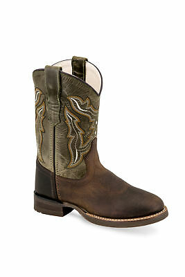Old West Green/Brown Kids Boys Leather Cowboy Boots