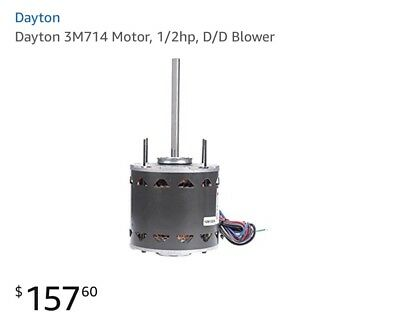 Dayton 3M714 Motor, 1/2hp, D/D Blower  Permanent Split Capacitor, Open Air-Over