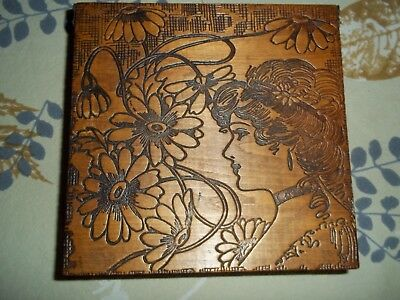 Hand Carved Burned Gibson Girl Art Nouveau Antique Vintage Box Lady Victorian