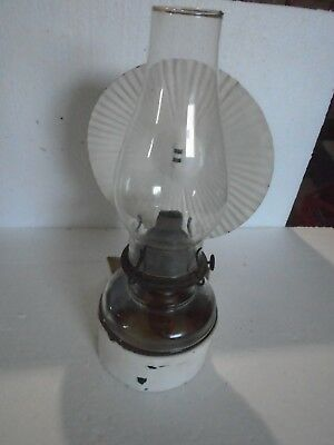Old Cabin wall mount/hung oil Lamp with Bracket Reflector & P & A Eagle burner