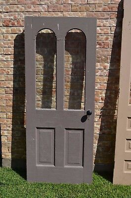 Antique Vtg Farm House Exterior Solid Wood Door Hardware Curved Windows Panels