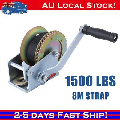 1500LBS Hand Winch 2-Ways Synthetic Strap Manual Car Boat Trailer 4WD 680Kgs BG