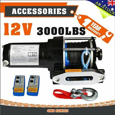 12V Wireless 3000LBS / 1361KGS Electric Winch Synthetic Rope ATV 4WD X-BULL AUS