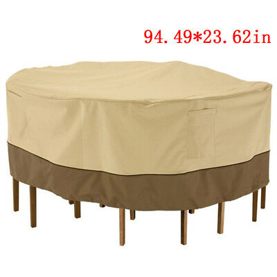"94"" Waterproof Round Patio Set Cover Large Outdoor Table Chair Furniture Cover"