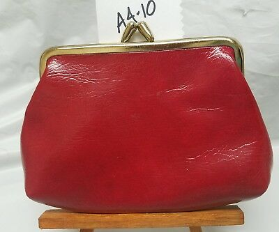 VTG 50S Watermelon Red Gloss Leather Coin Kisslock Purse Japan Mini Bag