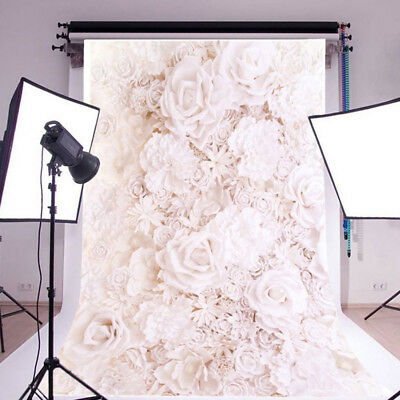 5x7ft Vinyl White Flower Wall Backdrop Photography Background For Studio Photo