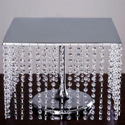 """15.75"""" Bejeweled Silver Square Crystal Pendant Wedding Birthday Party Cake Stand"""