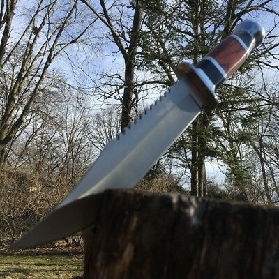 """12"""" HUNTING SURVIVAL Wood Tactical FIXED BLADE KNIFE Skinning Bowie Machete"""
