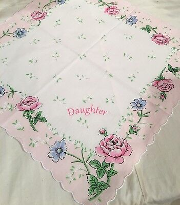 Lovely New DAUGHTER Handkerchief With Beautiful Pink Roses!