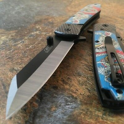 "8"" DRAGON Blue SPRING ASSISTED OPEN Tactical Ninja FOLDING POCKET KNIFE Cosplay"