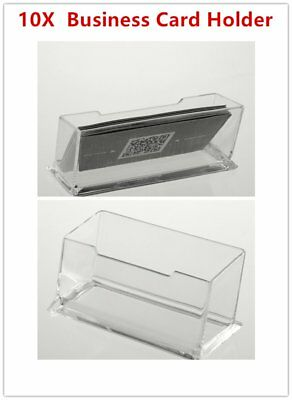 10 X Clear Desktop Business Card Holder Display Stand Plastic Desk Shelf  LOT GS