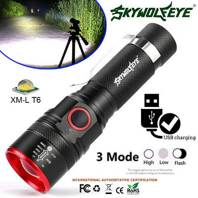SKYWOLFEYE USB Rechargeable T6 LED 3Mode Flashlight Torch Zoom Light Night Lamp