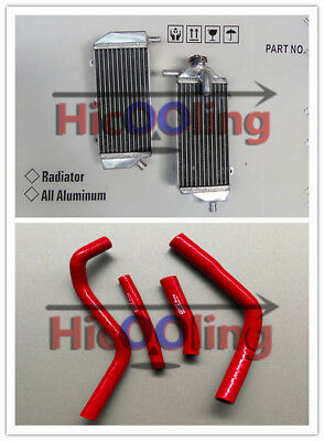Aluminum radiator + Red silicone hose for YAMAHA YZ450F 2014 2015 2016 14 15 16