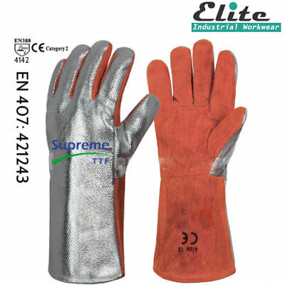 Premium Quality Leather Welding Gauntlet Work Gloves Aluminum Silver Red Glove