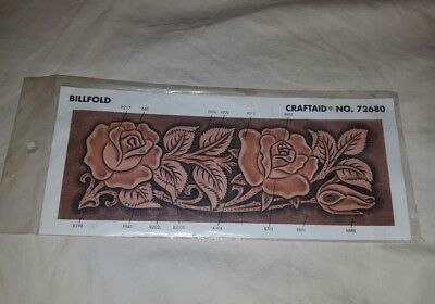 Tandy Leather Factory Leather Billfold Plastic Template # 72680 Roses Design