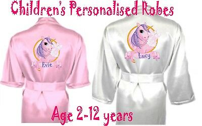 Children's Personalised UNICORN Satin Silky Robe / Dressing Gown Child's Gift