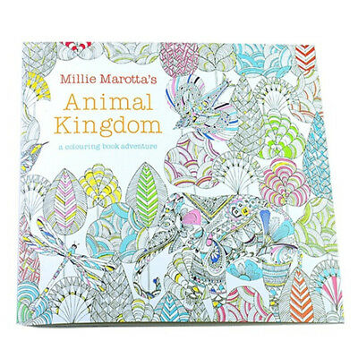 Children Adult Animal Kingdom Treasure Hunt Coloring Painting Book W3G6