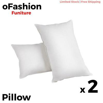 Pillows 2x Duck Down Feather Cover Neck Back Support Home Bedding Sleep 73x48cm