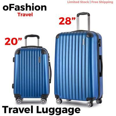 2pc Travel Luggage Suitcase Lock Hard Case Lightweight Carry On Bag Trolley Blue