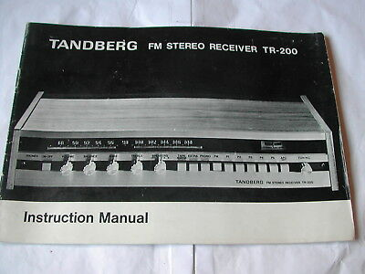 Instruction Manual - Tandberg Fm Stereo Receiver Tr 200