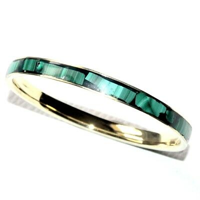 bracelet jonc vintage en laiton couleur or et malachite naturelle bijou bangle