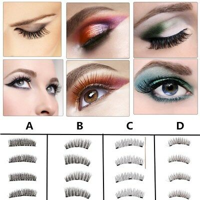 8pcs 3D Faux Cils Magnétiques sans Colle Naturel Extension Eye Lashes Maquillage