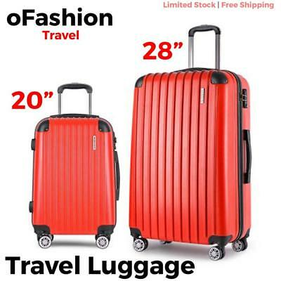 2pc Travel Luggage Suitcase Lock Hard Case Lightweight Carry On Trolley Red