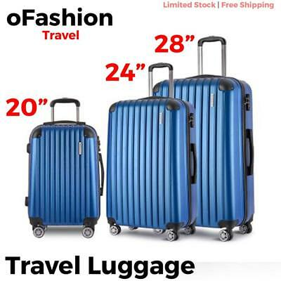 3pc Travel Luggage Suitcase Lock Hard Case Lightweight Carry On Trolley Blue