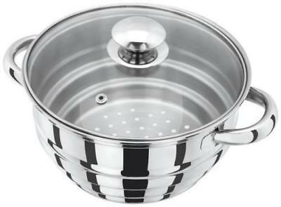 JUDGE Stainless Steel Multi Steamer fits 16/18/20cm Pans Saucepans Glass Lid HX