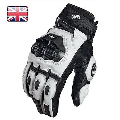 Furygan afs 6 Leather Vented Motorcycle Gloves Black / White size XL