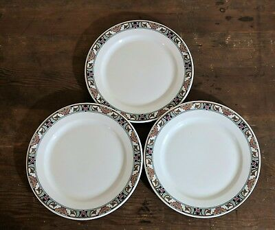 Vintage Buffalo China Floridian Three Dinner Plates Early Mark 1915 - 1920's