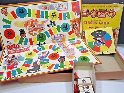 Bozo the Clown in Circus Land Vintage Board Game Lowell 1965