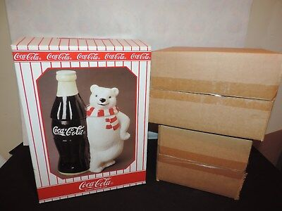 Coca Cola Polar Bear with LARGE COKE BOTTLE Rare 1998 Cookie Jar (h174)
