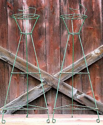 "Pair 36"" Vintage Wire Florist Plant Stand Old Green Paint Funeral Church Antique"