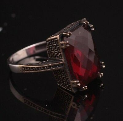 925 Sterling Silver Handmade Authentic Turkish Ruby Ladies Ring Size 6-9