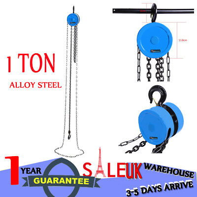 1 Ton Workshop Alloy Chain Lifting Block & Tackle Car Hoist Heavy Duty Load