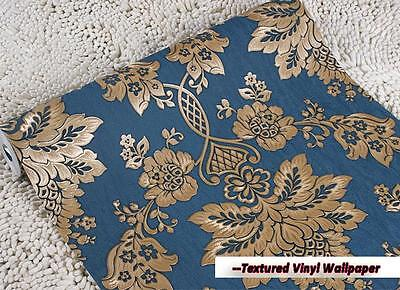 10m Vintage Modern Luxury Classic Gold Textured Damask Roll Vinyl Wallpaper Blue