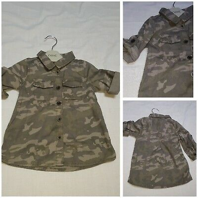NEW⭐BNWT NEXT Baby Girl 3-6 12-18 Cotton Camouflage Print Collar Shirt Dress