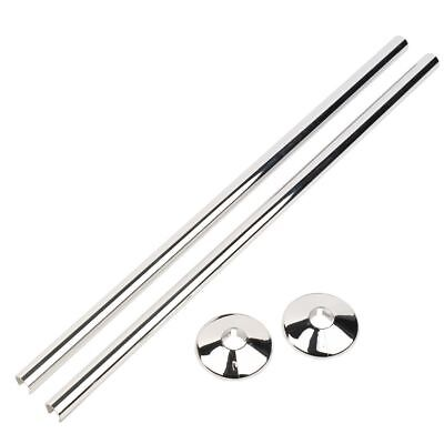 Qty 2 - 15mm Radiator Pipe Cover & Collar CHROME 500mm EXTRA long- Snappit