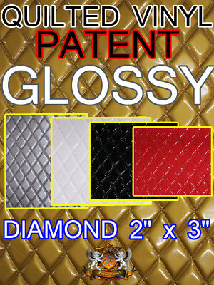 """Quilted Vinyls Patent GLOSSY Diamond 2"""" x 3"""" With 3/8"""" Foam Backing Upholstery"""