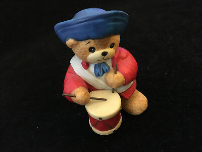 Lucy & Me Patriot Bear 1776 Flag Drummer USA July 4th Enesco Lucy Rigg 1987